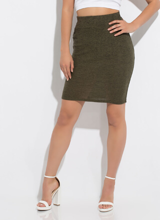 Soft Touch Marled Knit Pencil Skirt