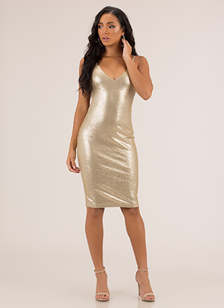 Plunge Party Sequined Open Back Dress