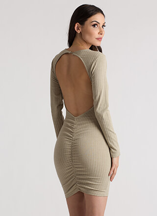 Turn Around Ruched Open Back Dress