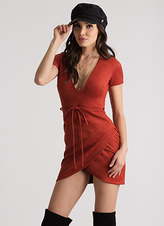 Tied And True Faux Suede Minidress