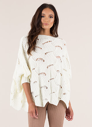 Shell To The Yeah Knit Poncho Sweater