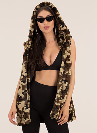 Caught In Camo Hooded Faux Fur Vest