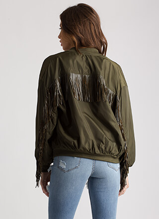 Fresh To Death Fringed Bomber Jacket