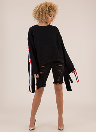 Long Story Striped Tie-Back Sweatshirt