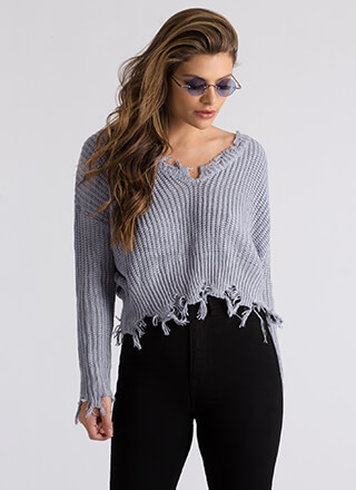 On Edge Distressed Knit Sweater