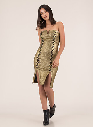 Laced With Magic Strapless Foiled Dress
