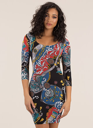Luxe Be A Lady Mixed Print Dress