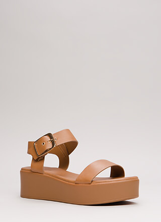 Easy Day Faux Leather Platform Sandals