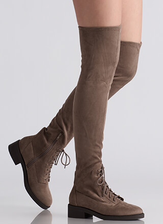 Down Low Lace-Up Thigh-High Boots