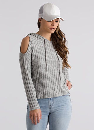 This Is Knit Cold-Shoulder Hoodie