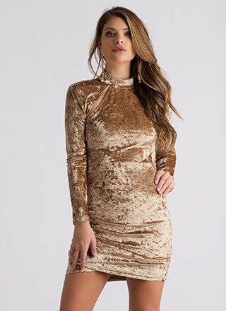 Cage Limit Strappy Crushed Velvet Dress