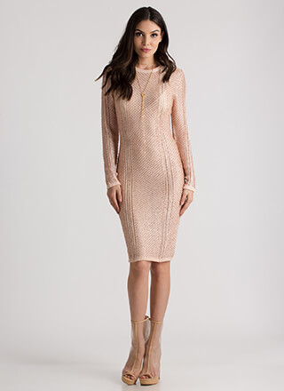 Your Time To Shine Metallic Knit Dress