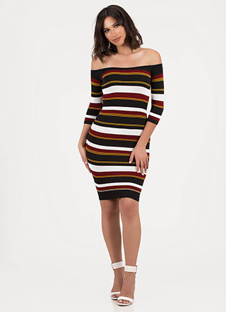 Learn Lines Striped Off-Shoulder Dress