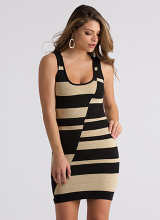 Glam And Glitter Abstract Striped Dress