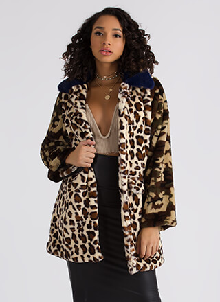The Prowl Leopard And Camo Faux Fur Coat