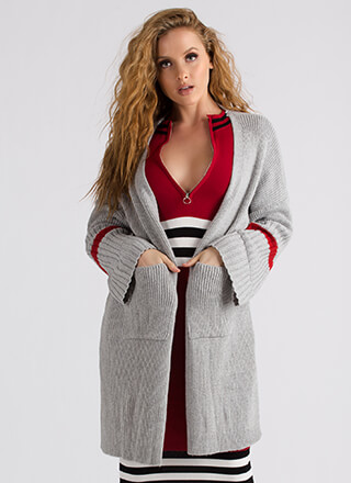 Stay Single Striped Oversized Cardigan