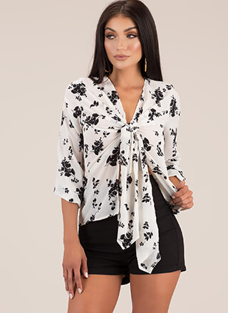 Just Blossoming Tie-Front Floral Blouse