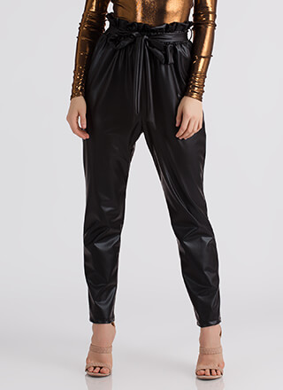 Throwback Chic Tied Faux Leather Pants