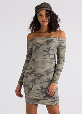 Compete With Camo Off-Shoulder Dress
