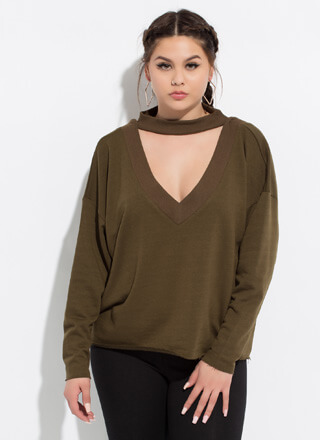 On A Roll Cut-Out Choker Sweatshirt