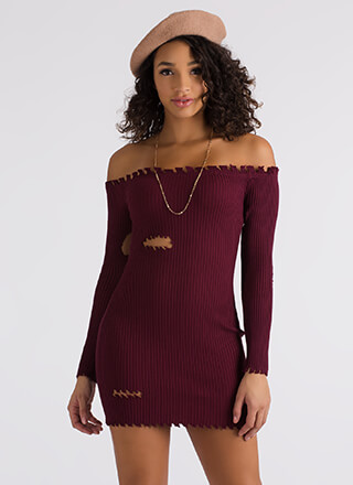 Bite Me Ribbed Off-Shoulder Dress