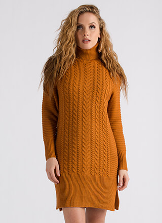 Premium Cable Knit Turtleneck Dress