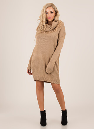 Fringe Fan Off-Shoulder Sweater Dress
