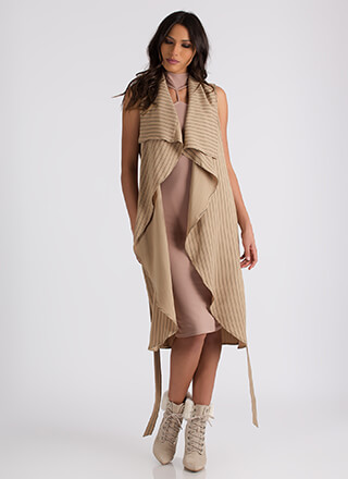Free Flow Sleeveless Pinstriped Duster