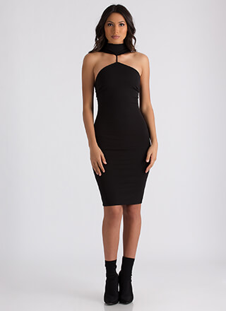 High Society Mockneck Midi Dress