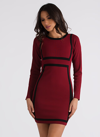 You've Been Framed Two-Toned Knit Dress
