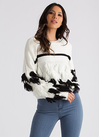 Shake Ya Tassel Feathers Knit Sweater