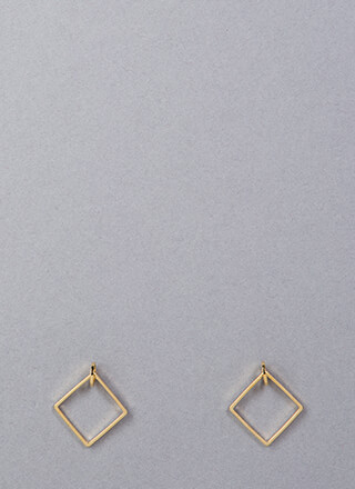 Small Diamonds Square Hoop Earrings