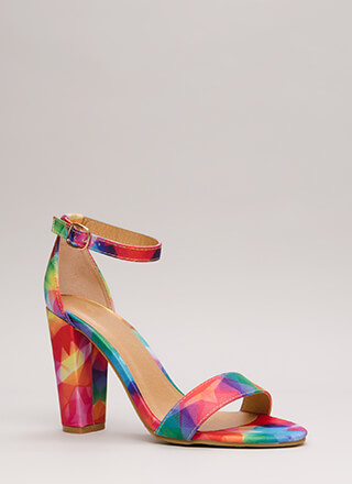 Rush To Print Chunky Ankle Strap Heels