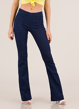 Retro Flare Pull-On Bell-Bottom Jeans