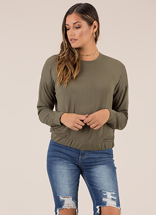 Cool Days Stretchy Hem Sweatshirt