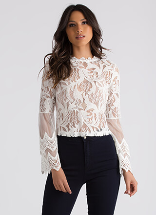 Sheer Romance Crochet And Lace Blouse