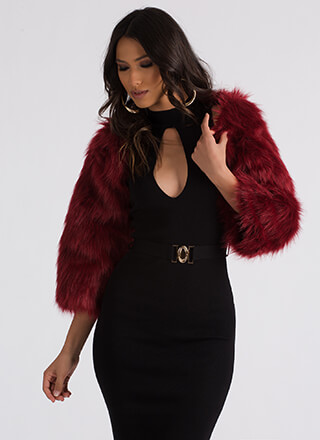 At Arm's Length Shaggy Faux Fur Shrug