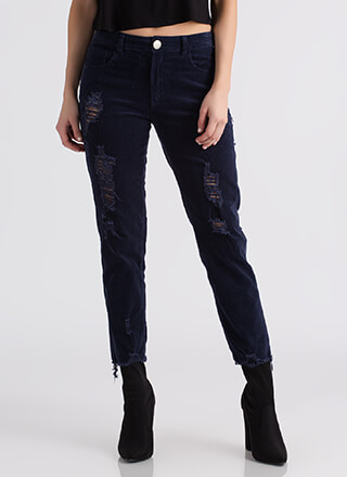 Back To Cool Distressed Corduroy Pants