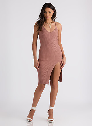 Slittin' Pretty Ribbed Open Back Dress