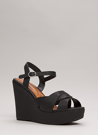 Strap In Faux Leather Platform Wedges