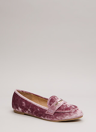 Plated Cool Crushed Velvet Loafer Flats