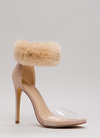 Luxe Be A Lady Tonight Fur Cuff Heels