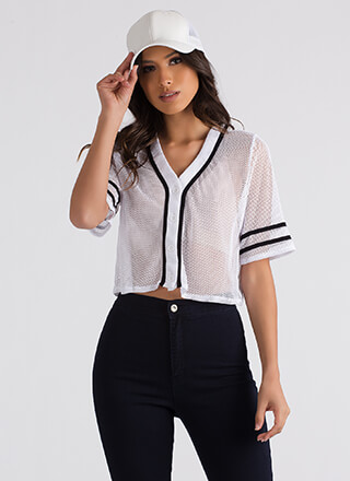 Play Ball Netted Cropped Jersey Top