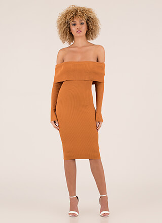 Easy To See Ribbed Off-Shoulder Dress