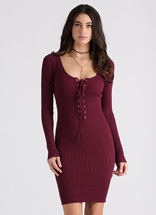 It's All Good Ribbed Lace-Up Dress