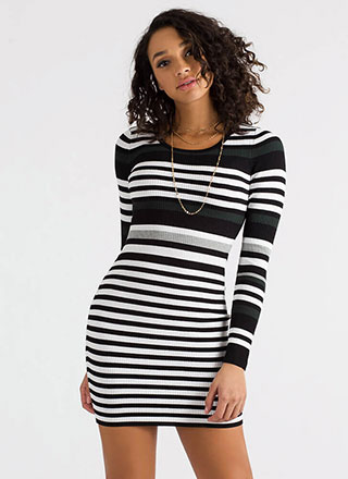 Fashion Lines Striped Rib Knit Dress