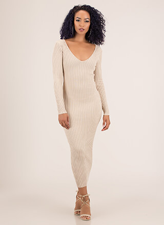 Every Day Wear Rib Knit Maxi Dress