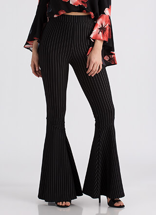 Flare Game Pinstriped Bell-Bottom Pants