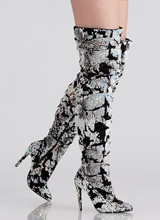 Sequined Soiree Velvet Thigh-High Boots