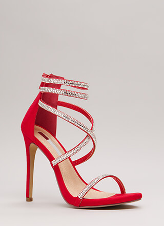 Luxe Life Strappy Jeweled Caged Heels